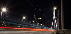 Night light (KronaPhoto) Tags: longexposure bridge light motion cars by night town movement traffic bro lys riga natt biler hst 2014 trafikk lykt