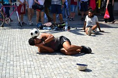 . (FOTO.Michaela) Tags: street boy summer man art ball fun football nikon artist prague sleep enjoy 2014 d3100