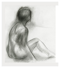 2003? Drawing nude (Masayo Nabeshima) Tags: pencil paper nude drawing dessin study