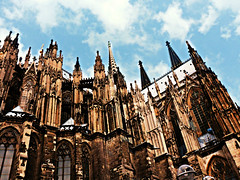 Cologne Cathedral (h.anderle) Tags: city travel summer vacation sky urban tourism church clouds germany landscape deutschland pretty cathedral crossprocess gothic cologne samsung tourist pointandshoot picturesque koln summervacation throughmyeyes youngphotog