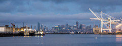 San Francisco Skyline and Port of Oakland (Tony Webster) Tags: sanfrancisco california panorama clouds sunrise boats oakland unitedstates ships sanfranciscobay shipping jacklondonsquare portofoakland sanfranciscoskyline sanfranciscobaytrail ccbync20150103 cgp1522b