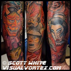 Asian forearm I finished today. Lots of lines in that background! #Hanya #skull #samurai #geisha #pattern #tattoo #tattoosbyscottwhite #lakeworth #florida #alteredstatetattoo #visualvortex