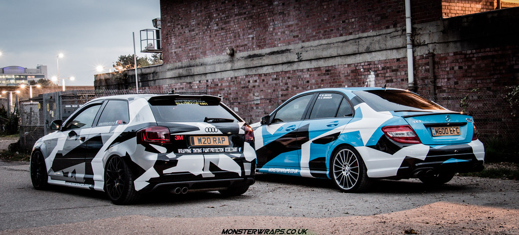 C63 Blue Camo By Monsterwraps DUP Automotive Tags Uk Cars Car Wrapping Mercedes Design