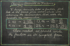 5th Grade: Math; Fractions: changing a decimal number into a fraction (ArneKaiser) Tags: 5thgrade autoimport edited mrkaisersclass pineforestschool waldorf waldorfjourney chalk chalkboard chalkdrawings fractions math flickr