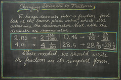 5th Grade: Math; Fractions: changing a decimal number into a fraction (ArneKaiser) Tags: 5thgrade 5thgradefarewell autoimport edited mrkaisersclass pineforestschool waldorf waldorfjourney chalk chalkboard chalkdrawings fractions math