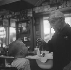 Styling Lessons (BunnySafari) Tags: bw haircut september 120film barbershop tintin franco 2014 yashicamat124g fpp ilford125 ongoingproject francosbarbershop