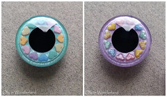 OOAK Hand-Painted Eye Chips for Blythe Doll - Candy Purple & Teal Eyes with Rainbow Hearts by Oly in Wonderland