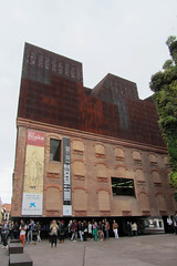 All Lined Up to Go In (Jocey K) Tags: madrid sky people plants building clouds spain rust posters banners caixaforum archtiecture industrialarchitecture billbroads caixaforummuseummadrid