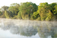 Lakeside Morning (Mark Philpott) Tags: park new morning trees mist lake water dawn countryside day sony gloucestershire lakeside cotswold rx100