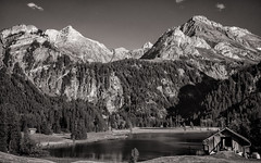 Lauenen (Bobzogluax) Tags: bw mountain lake montagne landscape switzerland raw noir suisse noiretblanc sony lac nb paysage blanc lightroom coth fantasticnature lr4 abigfave niksoftware coth5 ruby10 ruby15 sonydscrx100 ruby20
