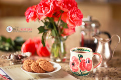 Coffee and Biscuits - Day 163/260 (Sasha L'Estrange-Bell) Tags: roses food flower cup coffee plate indoors mug jug biscuits tbsart