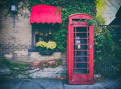 St. Lawrence St. Portal (Dan Haug) Tags: phone booth merrickville merrickvillewolford autumn 2014 red leaves flowers xf23mmf14r xt1 fujifilm telephone english vines pub explore explored