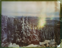 Blinding Winter (Bastiank80) Tags: world life camera winter snow color film field analog forest giant landscape polaroid frozen hiking being large free hike explore human blinding there instant 4x5 sheet format expired feelings 79 guiding wista bastiank