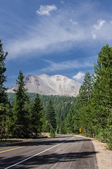 Road to the Mountain (Gafapasta Photography) Tags: california road blue sky usa green clouds forest volcano nationalpark lassen lassenvolcanicnationalpark