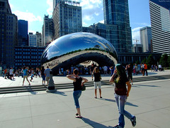 "Sun glare on Cloud Gate aka The Bean • <a style=""font-size:0.8em;"" href=""http://www.flickr.com/photos/34843984@N07/15540819092/"" target=""_blank"">View on Flickr</a>"