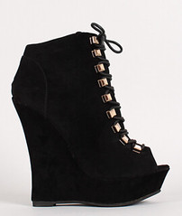 "lace up peep toe platform wedge booties 100 blk • <a style=""font-size:0.8em;"" href=""http://www.flickr.com/photos/64360322@N06/15559027695/"" target=""_blank"">View on Flickr</a>"
