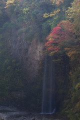 Ghost Falls (jasohill) Tags: city autumn red colour nature dark landscapes october ghost culture falls waterfalls 日本 gorge 東北 akita tohoku yuzawa 2014 oyasukyo canonef200mmf28lusm