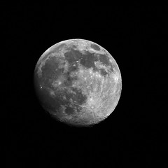 Not Quite Full (theeqwlzr) Tags: moon beautiful blackbackground amazing nightlights outdoor astrophotography nightsky outerspace lunar canonrebelxti
