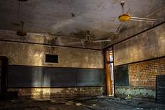 (Rodney Harvey) Tags: abandoned school detroit urban decay exploration urbex chalkboard flourescent lighs