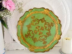Florentine Tray (Jigglemawiggle) Tags: woodentray goldgilt ornate italian florentine embossed jigglemawiggle charityfinds thriftstore myhome mystyle midcentury