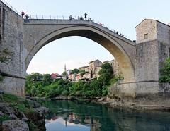 Mostar 10 (mpetr1960) Tags: mostar bosnia gerzegovina europe bridge river old jump people tour tourists mosque nikon d810