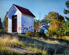 A small Shed on the Eagle Harbor Lighthouse grounds (PhotosToArtByMike) Tags: eagleharbor michigan mi keweenawpeninsula upperpeninsulaofmichigan storageshed upperpeninsula up uppermichigan lakesuperior autumn autumnleaves rockycoastline village
