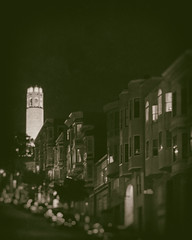 Tower over North Beach (wpitts1964) Tags: sf coittower night northbeach sanfrancisco wetplate