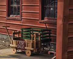 Wagons Ho (TuthFaree) Tags: hss slidersunday amish ethridge tn buggyshop toys handcrafted wooden wagons children windows reflection