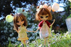 age of youth 🌱 (Juju DollPassion) Tags: pink cute balloons flower brown nut ovie azazelle lydia fc full custo custom doll dolls jumelles twins pullip