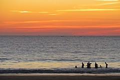 Ngapali Beach, Myanmar - Sunset (zorro1945) Tags: ngapalibeach myanmar burma asia asie sunset sundown dusk gloaming swimmers bathers nightfall boats ocean rakhinestate bayofbengal