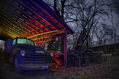 Rural Farm Truck I (Notley Hawkins) Tags: rural missouri notley notleyhawkins 10thavenue httpwwwnotleyhawkinscom missouriphotography notleyhawkinsphotography lightpainting bluelight greenlight blue green night nocturne 光绘 光繪 lichtmalerei pinturadeluz ライトペインティング प्रकाशपेंटिंग ציוראור اللوحةالضوء abandoned longexposure ruralphotography chartitoncountymissouri red redlight rgb outdoor 2017 riverbottoms missouririverbottoms truck farmtruck chevrolet march rafters roof ceiling wideangle fisheye