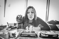 Happy birthday to you, Jessica (lilcris) Tags: blancoynegro bw blackwhite birthday girl dog contraluz