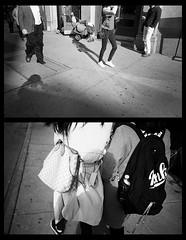Pay Attention to Me (The Frotographer) Tags: shadows shadow lateafternoon shade contrast light sunlight trix400 trix lowermanhattan concrete diptych blackandwhite bw beauty selfportrait friedlander attention manhattan olympusxa4macro olympus kodak blackpaper tension