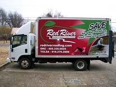 Red River Box Truck Wrap (zakschroeder) Tags: redriverroofing rrr jennclore jc justinbarr jb roofer roofing redshelterroofsystem rsrs owenscorning oc asphalt asphaltroof asphaltshingles compostieshingles siding gutters guttering seamlessgutters insulation insulator insulater doors windows ventilation construction contractor pinkpanther homeenergysolutions toofthehouse residential home house commercial office school building red green pink boxtruckwrap truckboxwrap wrap boxtruck truckbox cubevanwrap cubevan