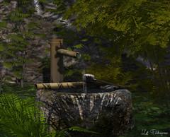Bamboo Fountain (Kat Feldragonne) Tags: secondlife virtual landscape outdoor shadows fountain bamboo serene foliage garden petou