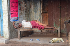 SIESTA WITH MY BEST FRIEND (GOPAN G. NAIR [ GOPS Photography ]) Tags: gopsorg gops gopsphotography gopangnair gopan photography siesta sleep street photo india poor dog man poverty jobless life