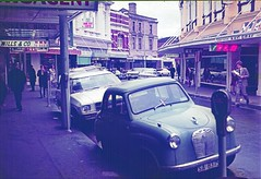 Launceston Village (Leonard J Matthews) Tags: launceston village austin a30 car street urban building curve footpath tasmania austria mythoto slidecollection 1970s
