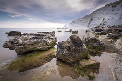 Scala dei Turchi reflections in Sicily, Italy (Tim van Woensel) Tags: scala dei turchi italia italy rocks reflection reflections white cliff cliffs stair turks realmonte sicily long exposure limestone rock formation staircase beach sea mediterranean nd filter travel