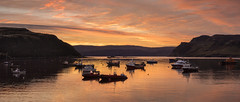 Sunrise in Portree harbour (Katybun of Beverley) Tags: portree isleofskye skye sunrise harbour boats boat seascape sea shoreline