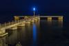 cala Millor pier (David S.M.) Tags: mallorca spain sea seascape water night nightscape pier cala millor light longexposure beach blue dusk
