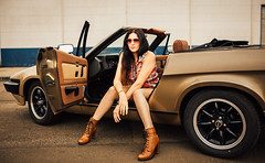 Jani TR7 (PF-Foto) Tags: lila jani janine old oldshool retro 80er cabrio tr7 gold outdoor model jung young oldtimer 5diii canon available car hot kodak cologne port hafen boots fahrzeug auto tattoo kodakgold brunette modell germany 2015 pffoto sunglass area cool strong 35mm sigma eos analog availablelight iso400 f2 5 legs beine girl female woman 11600 chillen relax