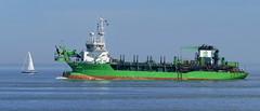 Klein und groß - Small and big (antje whv) Tags: cuxhaven elbe norddeutschland northgermany niedersachsen segelboot sailingboat baggerschiff dredger