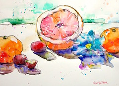 """""""lost and found"""" - charcoal and watercolour (Nora MacPhail) Tags: watercolour watercolor aquarelle charcoal line drawing painting daily dailypaintworks paintworks painter dailypainter dailypainting still life grapefruit clementines art sketch sketching draw paint fun"""