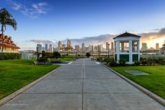 San Diego Sunrise (Jonathan Tasler) Tags: sandiego california sunrise centennialpark grass skyline leadinglines