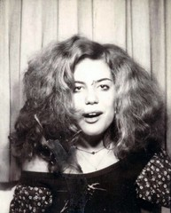 Photo Booth Portrait of a Young Woman (kevin63) Tags: lightner photo women kitsch bitsch facebook old vintage pictures photobooth blackandwhite seventies sixties 70s 60s teen thick hair dazed buzzed stoned drunk black sweater confused open mouth crooked ohwow