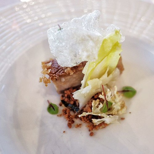 Western Plains pork belly, endive, cauliflower with clarified crackling. #eats