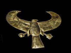 Sheet gold collar depicting a falcon representing the god Horus found in King Tutankhamun's tomb New Kingdom 18th Dynasty Egypt 1332-1323 BCE (mharrsch) Tags: falcon horus winged gold pharaoh king ruler tutankhamun burial tomb funerary 18thdynasty newkingdom egypt 14thcenturybce ancient discoveryofkingtut exhibit newyork mharrsch premierexhibits collar