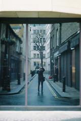Smoke. (Paul_Munford) Tags: film grain analogue kodakportra400 minoltax700 london londonstreets mayfair reflection