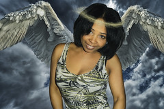 Angel (A.B. Art) Tags: frau woman postprocessed photoshop photomontage photoshopped wings flügel nachbearbeitet fotomontage digitalart starburst911 abart person portrait