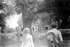 h1-68 14 (ndpa / s. lundeen, archivist) Tags: nick dewolf nickdewolf bw blackwhite photographbynickdewolf film monochrome blackandwhite city summer 1968 1960s 35mm boston massachusetts candid streetphotography citylife people youngpeople park publicgarden bostonpublicgarden guitar guitarplayer livemusic playingtheguitar man youngman hill woman youngwoman longhair tree trees